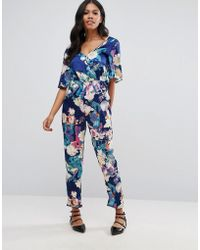 Girls On Film - Printed Wrap Front Jumpsuit - Lyst