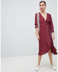 Monki Wrap Polka Dot Dress With Buttons - Red