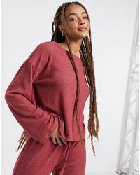 New Look – schulterfreies, langärmliges lounge-oberteil - Pink