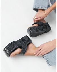 ASOS Wide Fit Watch Toe Thong Flatforms - Grey