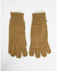 ASOS Guanti lavorati a maglia con risvolto color cammello - Marrone