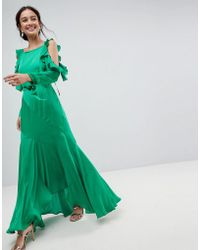 88733626419 Lyst - ASOS Cold Shoulder Long Sleeve Ruffle Maxi Dress in Orange