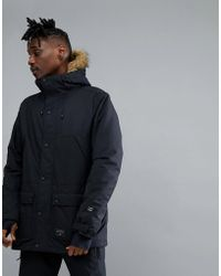 Billabong - Winter Parka In Black With Faux Fur Hood - Lyst