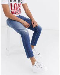 Love Moschino Jean slim estampé - Bleu