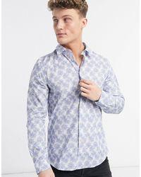 Paul Smith Белая Рубашка Классического Кроя С Принтом И Длинными Рукавами -белый