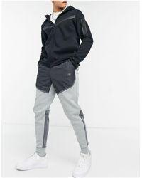 Nike Серые Флисовые Джоггеры В Дизайне Колор Блок Tech Fleece-серый
