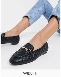 London Rebel Wide Fit Snaffle Trim Loafers - Black