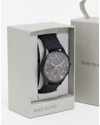 River Island Mens Silicone Watch - Black