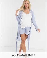 ASOS Asos Design Maternity Mix & Match Soft Rib Pyjama Short With Elastic Waistband - Blue