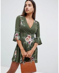 AX Paris - Printed Skater Dress With Flute Sleeve - Lyst