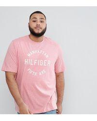 Tommy Hilfiger Plus Owen Manhattan Logo T-shirt In Pink Marl