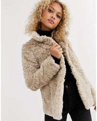 Oasis Twisty Faux Fur Coat - Natural