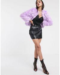 ASOS Chevron Textured Faux Fur Jacket - Black