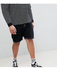 ASOS – Plus – Schmale Jeans-Shorts - Schwarz