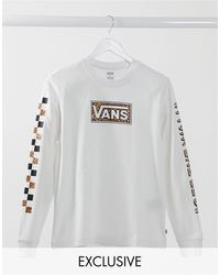 Vans Wyld - T-shirt a maniche lunghe bianca con stampa animalier multi - Bianco