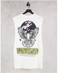 Honour HNR LDN - T-shirt sans manches avec imprimé Wonderland au dos - Blanc