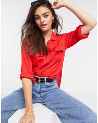 ASOS Long Sleeve Soft Shirt With Utility Pocket - Red