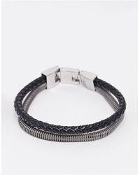 Fossil Tweekleurige Armband Met Dubbele Band - Zwart