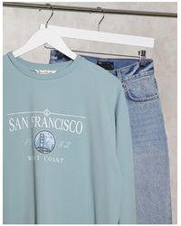 Miss Selfridge Голубое Удлиненное Платье-футболка С Надписью 'san Fran' -синий