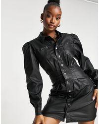 Missguided Denim Shirt Dress With Cinched Waist - Black