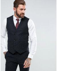 ASOS - Asos Slim Suit Waistcoat In 100% Wool Harris Tweed Herringbone In Charcoal - Lyst