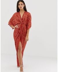 ASOS Scatter Sequin Knot Front Kimono Maxi Dress - Red