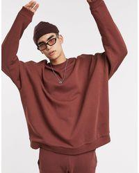 ASOS Felpa super oversize marrone - Rosso