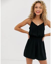 New Look Button Down Playsuit - Black