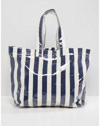 Mango - Stripe Plastic Beach Bag In Blue Multi - Lyst