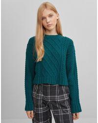 Bershka Зеленый Джемпер Из Шенили С Узором «косы» - Многоцветный