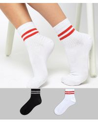323ae9f9893 ASOS Crochet Lace Frill Ankle Socks in Natural - Lyst