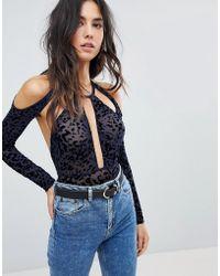853eca461b ASOS - Asos Melika Flocked Animal Print Long Sleeve Bodysuit - Lyst