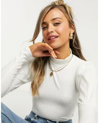 New Look Ribbed Puff Sleeve Top - White