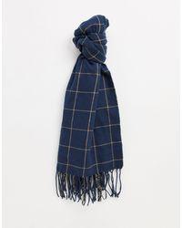 Monki Greta Recycled Polyester Check Print Scarf - Blue