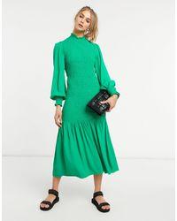 Ghost Dinah Shirred Dress - Green