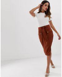 Lipsy Utility Midi Skirt - Brown