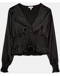 TOPSHOP Satin Shirred Waist Blouse - Black
