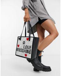 Love Moschino Черная Сумка-шоппер С Вышивкой И Отделкой Цвета Слоновой Кости -черный Цвет