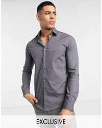 Calvin Klein Skinny Fit Shirt Easy Iron Charcoal Exclusive At Asos - Grey