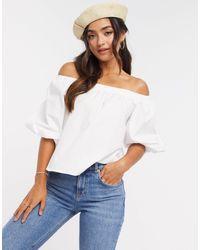 ASOS Cotton Bardot Top With Volume Sleeves - White