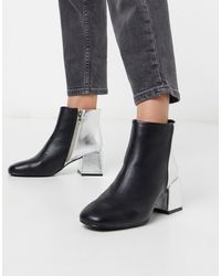 Glamorous Contrast Heeled Ankle Boots - Black