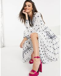 Ted Baker Robe Longue Manches Longues Stars And Stripes - Blanc