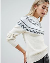 Fashion Union - Jumper With Fairisle Placement - Lyst
