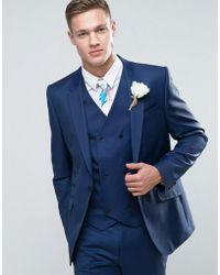 ASOS - Wedding Slim Suit Jacket In Light Navy 100% Wool - Lyst