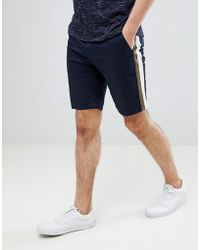 ASOS - Slim Chino Shorts In Navy With Double Side Stripe - Lyst