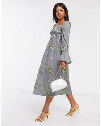 Never Fully Dressed - Монохромное Платье Миди В Клетку С Вышивкой -мульти - Lyst