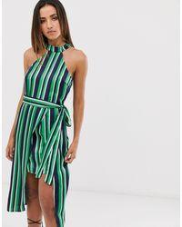 AX Paris Платье Темно-синего, Белого И Зеленого Цвета -зеленый