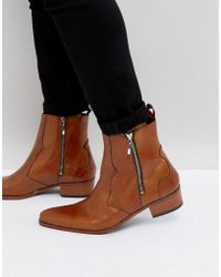 Jeffery West - Carlito Brogue Zip Boots In Tan Leather - Lyst