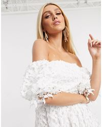 Love Triangle Off Shoulder Prom Dress With Balloon Sleeves - White