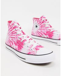 Converse Chuck Taylor All Star Hi Tie Dye Trainers - Pink